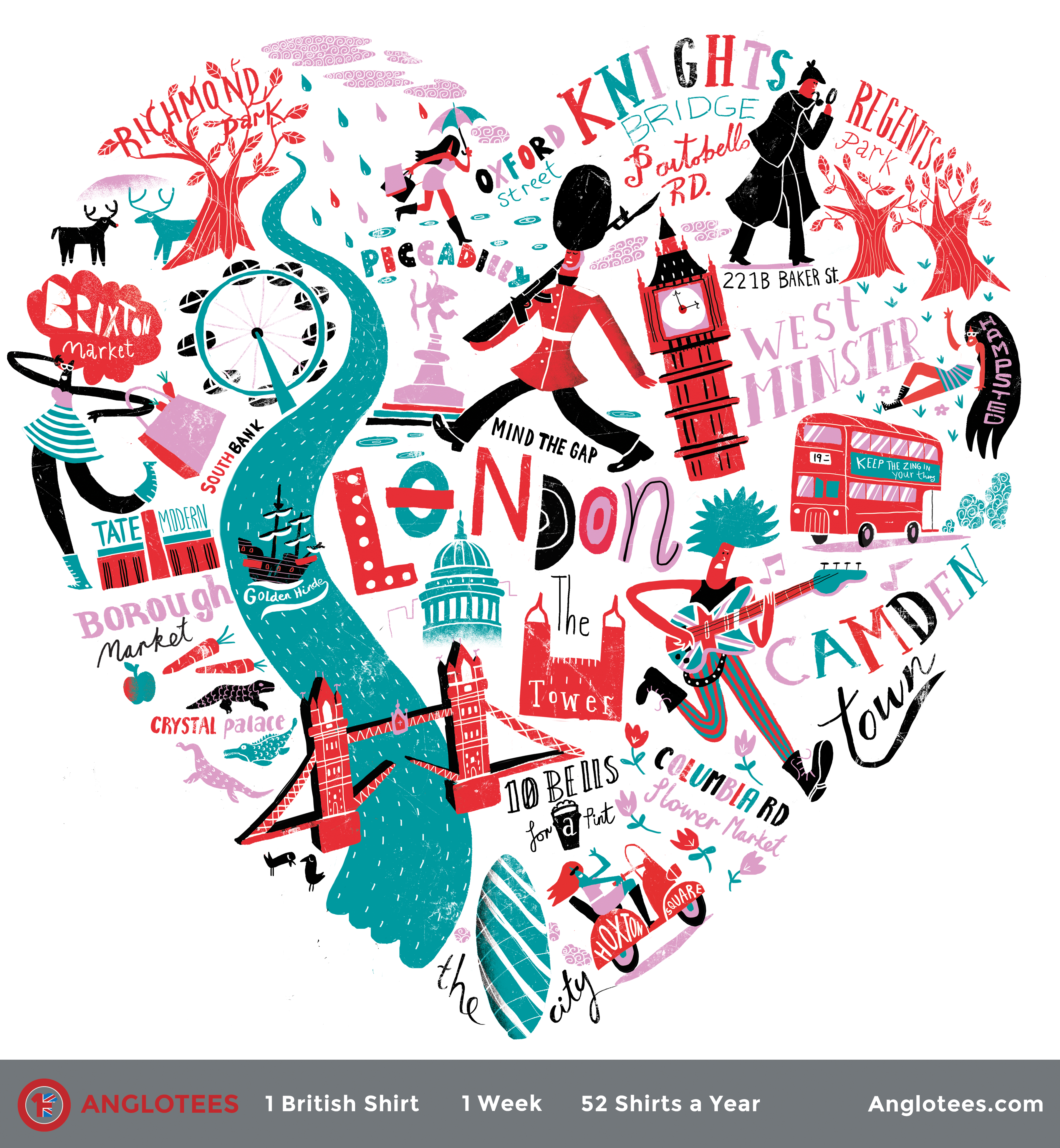 Shirt design london - Londoner At Heart A Whimsical Journey Around London In The Autumn T Shirt Anglotees