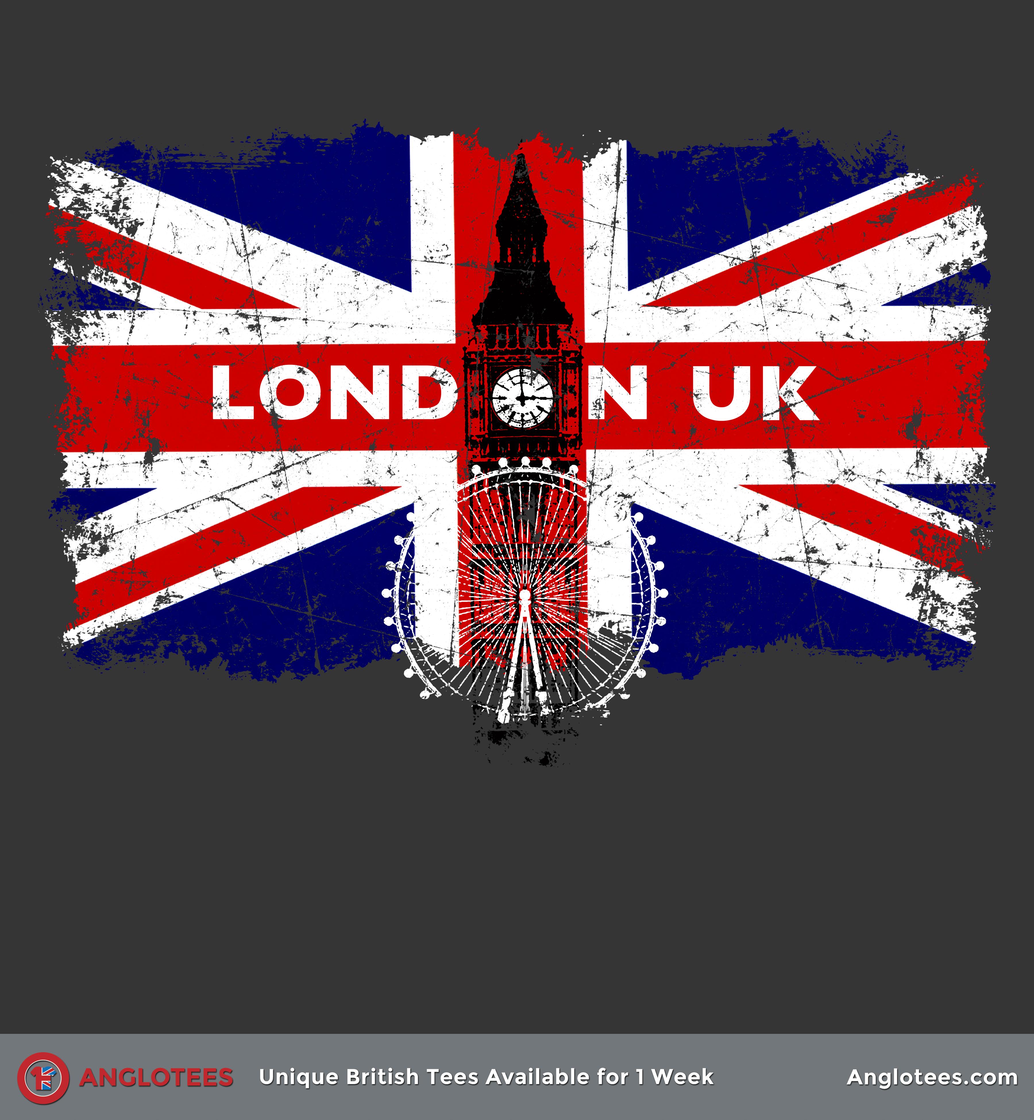 London UK - Beautiful Union Flag Tribute to London - Anglotees
