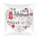 I Love London Square Pillow